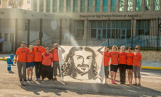 Anti-Torture Activists Hold Banner of Tariq ba Odah at U.S. Embassy in Cuba