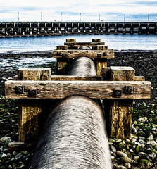 Pipeline on the foreshore - Port of Workington, Cumbria, UK (gizmo-the-bandit) Tags: pipeline foreshore beach industrial workington cumbria uk photoshop