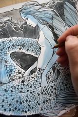 Mermaid - wip (The Girl with the Flaxen Hair) Tags: natiart watercolor painting inkandwatercolor ink inking mermaid siren mermaidart blue workinprogress art illustration wipshot animemanga natithegirlwithflaxenhair