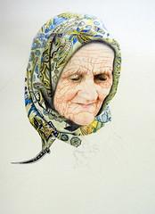 WIP, colored pencil, by Ricardo - DSC03821-001 (Dona Mincia) Tags: art drawing coloredpencil humanfigure person oldlady woman scarf portrait arte desenho lpisdecor retrato mulher figurahumana senhora velha rosto face leno