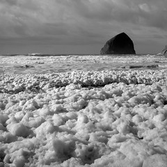 Haystack Rock with Sea Foam, Oregon (austin granger) Tags: haystackrock seafoam oregon storm evidence geology time weather foam bubbles square film gf670
