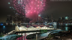 Last Blast (PA022061) (Michael.Lee.Pics.NYC) Tags: newyork fireworks 2016 deepavalifestival brooklynbridgepark pier2 promenade eastriver lowermanhattan cityscape architecture cloudy olympus em5 markii mkii 1240mmpro28
