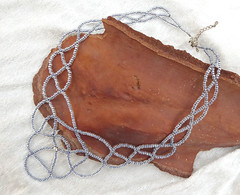 Grey glass seed beads necklace. (tinnas_slave_bracelet) Tags: necklace statement pearl beaded multi strand crystal gemstone pendant collar bib art beadwork jewelry choker lariat free form unique jewellery
