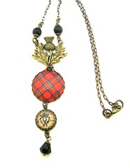 Ancient Romance Series - Royal Stewart Clan Tartan Thistle Bail Necklace with Luckenbooth Charm and Onyx Black Czech Glass Crystals