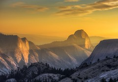 Sunset on Half Dome (Fab05) Tags: yosemite halfdome california nationalpark landscape colorful beautiful clouds lightrays mountains sky light olmstedpoint yosemitevalley