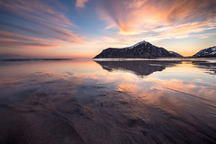 Sunrise at Skagsanden (Danil) Tags: skagsanden beach norway lofoten daniel bosma landscape mountain snow water atlantic ocean coast arctic sunrise morning spring europe colorful reflection nature