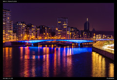 Nightfall along the Meuse (Falcdragon) Tags: lige belgium nightfall night river meuse sony sonynex5 sonyzeisssonnarfe1855mmza longexposure water sky colour lights city cityscape skyline cityskyline evening