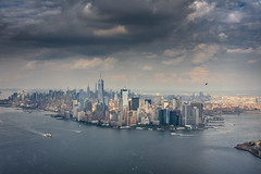 New York City from the skies (hjuengst) Tags: newyork helicopter flight manhattan downtown clouds