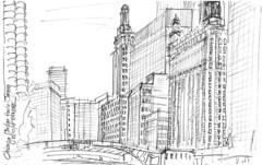 Chicago, Chicago River (Croctoo) Tags: croctoo croquis croctoofr crayon chicago ville skyscraper gratteciel sketch