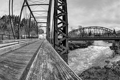 Double Cross (Ian Sane) Tags: ian sane images doublecross mill city oregon north santiam river bridge south first avenue railroadpedestrianbridge landscape photography canon eos 5d mark ii two camera ef15mm f28 fisheye lens