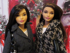 Going Christmas Shopping (Foxy Belle) Tags: fashionista fashionistas 2016 doll barbie brunette curvy brown eyes asian straight hair redressed coat christmas winter gift bag background handmade clothing jeans gray black 51