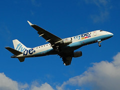 G-FBJG Embraer 175 of Flybe (SteveDHall) Tags: aircraft airport aviation airfield aerodrome aeroplane airplane airliner airliners manchester manchesterairport ringway 2016 gfbjg embraer e175 flybe embraer175 be bee