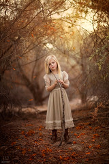 Crossroads ({jessica drossin}) Tags: jessicadrossin photography portrait girl child stick fall autumn trees leaves overlays illuminationtextures dress lace blond fine art wwwjessicadrossincom