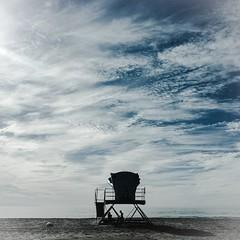 Summer is over (sdlawsonphoto) Tags: iphone silhouette autumn pacific ocean lifeguardtower clouds california fall beach santacruz