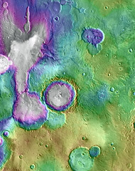 Dry Lakes and Dry Streams on Mars, Topographically (sjrankin) Tags: 12november2016 edited mars mro marsreconnaissanceorbiter elevation elevationmap streams lake craters topography shading