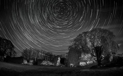 lindores abbey star trail final bw-2016 (E.........'s Diary) Tags: lindores abbey ruin monking around under stars
