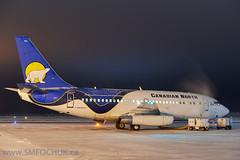 Canadian North Boeing 737-200 C-GOPW (Stephen M. Fochuk) Tags: cgopw canadiannorthairline boeing 737200 night cold snow jetliner passengerplane northwestterritories yellowknife cyzf runway nwt