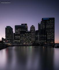 Canary Wharf slips into night (jerry_lake) Tags: 7nov2016 barclays blackwallbasin citi canarywharf hsbc london londoncity onecanadasquare statestreet nightshoot