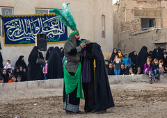 Traditional religious theatre called tazieh about imam hussein death in kerbala, Isfahan province, Isfahan, Iran (Eric Lafforgue) Tags: 9people adults artscultureandentertainment ashura battle calligraphy ceremony clothing colorimage commemoration condolencetheater drama epic esfahan fullframe fulllength groupofpeople historicalreenactment history horizontal imamhussein iran iranian isfahan islam ispahan men middleeast mourning muharram muslims outdoors persia photography play religion religiouscelebration shia shiism shiite tazieh theatre women isfahanprovince ir