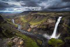 Primeval (andywon) Tags: flow haifoss iceland landscape majestic nature powerful river rock strong water waterfall highlands rocks cliffs cloudsy sky overcast rainbow