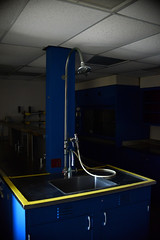 (John Donges) Tags: laboratory old disused science equipment room sink pipe hose faucet blue yellow stripe 8699
