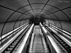 Stairway to Heaven (m@®©ãǿ►ðȅtǭǹȁðǿr◄©) Tags: bilbao bilbo vizcaya españa metro transportepúblico líneametrobilbaosantutxu blancoynegro monocromo geometria estructura arquitectura simetria patrón líneas diagonal abstracto gente stairwaytoheaven escaleras escalerasmecánicas olympusepl1 zuikoed14÷42mmf35÷56 marcovianna marcoviannafotógrafo m®©ãǿ►ðȅtǭǹȁðǿr◄©