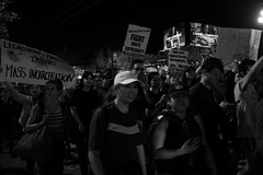 """Not My President"" (janescanlan) Tags: usa ca sf sanfrancisco demonstrations protest mono bw marketstreet"