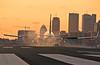 Smoky Boston Skyline Sunset (jp.marottta) Tags: n537as alaskaairlines boeing kbos loganairport boston skyline prudentialbuilding hancocktower rwy27 landing smokeshow nikond90 telefoto