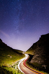 Milky Way over Winnats Pass (liamhancox1) Tags: night stars milky way peak district peakdistrict winnats pass castleton rocks cliff car light road