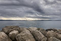 Split jugo 1 (LukaBoban) Tags: sea wind bay shore dark clouds water stone rock blue grey winter cold seascape croatia split
