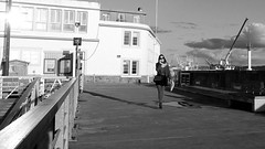 On the quay (patrick_milan) Tags: noiretblanc blackandwhite noir blanc monochrome nb bw black white street rue people personne gens streetview fminin femal femme woman women girl fille belle beautiful candide brest quay