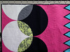 The Cool Kids detail (Quiltachusetts - Heather Black) Tags: modern contempory quilt shocking hot pink aqua blue gren black white solids curved curves triangle transparency walking foot straight line quilting geometric