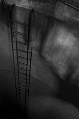 The Ladder_JWA1264 (jonwaz) Tags: blackandwhite bw white abstract black abandoned blanco geometric monochrome lines alley nikon europa y sweden negro staircase walkway tower r water jonwaz