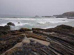 untitled (Rafael Guerrero Prados) Tags: ocean sea cliff beach portugal girl rock fog landscape photography coast mar photo foto foggy playa atlantic alentejo niebla roca atlntico oceano fotografa zambujeira pizarra