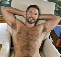 721 (rrttrrtt555) Tags: hairy armpit smile muscles hair beard chair arms chest lounge spike shoulders flex spiked stubble