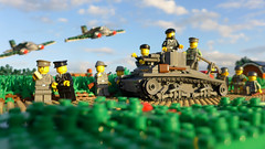 The roaring engine sound of war (Rebla) Tags: world 2 france outside war lego outdoor wwii perspective engine battle scene ii german micro sound belguim ww2 111 forced fp roaring the he111 brickarms fallschirmjäger hienkel panzer35t rebla brickizimo ifitsnotthesoundsofourpanzersthataregoingtocombat itwillbeofouraircraftaslongastheysoundthefightingwontbeover