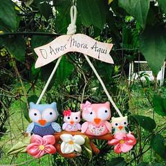 Guirlanda Família de Corujas (Pina & Ju) Tags: flor fuxico