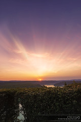 The End of the Sunset (Sonick Photographie) Tags: pink light sunset sky orange lake green nature water rose yellow clouds jaune landscape soleil eau lumière coucher magenta lac vert ciel rays nuages paysage bushes rayons buissons vouglans