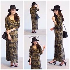 """520฿#ส่งฟรีลงทะเบียนส่งemsเพิ่ม20บาทจ้า  New!!! Military maxi dress แมกซี่ลายทหาร เนื้อผ้านุ่มมากๆ ใส่สบายใช้ผ้าคอตตอลเกรดดี ทรงสวยมากๆ น่ารักมากค่ะ  Freesize อก40"""" เอว40"""" สะโพกถึง46"""" ยาว50""""  1สี ทหาร"""