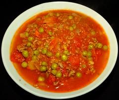 Cajun Bison Soup (ezigarlick) Tags: soup tomatoes onions garlic carrots hotsauce parsley bison celery paprika cajun thyme oregano bellpeppers greenpeas