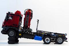 LEGO Technic - Mercedes Arocs - Hook Lift HDS (dirtzonemaster) Tags: man truck mercedes mod lego pneumatic suspension crane air most technic scania iveco daf moc ackerman zom hds actros 42043 contener zawieszenie hooklift arocs hakowiec