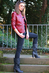 Lena 24 (The Booted Cat) Tags: sexy girl leather model boots jeans jacket tight