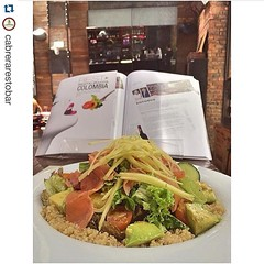@look4plan en Instagram! (Look4Plan) Tags: de cherry with y mango quinoa naranja con tomate curado aguacate limn pepino salmn mezcla vinagreta jengibre supremas lechugas  repostapp look4eat cabrerarestobar ensalada salmn