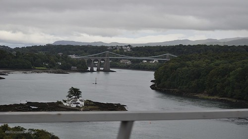 2015-08-19 2015 GB - View from N-Wales Expy through a House in Swellies and the Menai Bridge near Bangor.