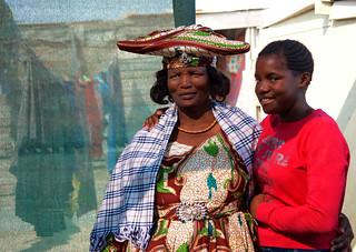Herero lady and granddaughter  - Township - Swakopmund - Namibia