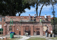 Brickwork almost complete at the Ridgeland Park Restroom building (babyfella2007) Tags: park county hinge wood old blue boy sky house jason man building brick sc window work fence project carson wooden iron pretty jasper child wind fig snake grant south low country goggles young slide porch taylor shutter restroom carolina beaufort forged creeping pard lowcountry ridgeland 2015