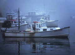 Boats in Fog: Acadia (hamsiksa) Tags: ocean sea fog boats marine maine fishingboats barharbor vessels mountdesertisland acadianationalpark trawlers commercialfishing