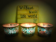 Without music life would B flat! (pefkosmad) Tags: music candle motto humour recycling candleholder tealight sentiment pun playonwords bflat upcycling