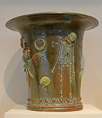 Roman lead-glazed vessel with death related symbols (f_snarfel) Tags: museumsinsel altesmuseumberlin antikensammlungberlin staatlichemuseenberlin leadglazedvessel deathrelatedsymbols bleiglasurkrug