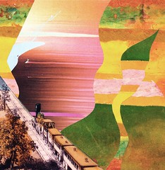 Abstract Future (The Grand Collage) Tags: pink blue brown green yellow collage train landscape gold fantasy ochre worksonpaper